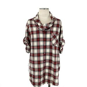 Vince- Red Plaid Cowl Short Sleeved Top Size Large